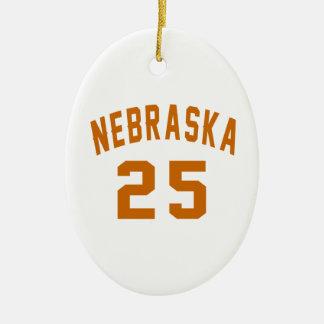 Nebraska 25 Birthday Designs Ceramic Oval Ornament