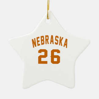 Nebraska 26 Birthday Designs Ceramic Star Ornament