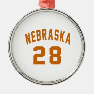 Nebraska 28 Birthday Designs Silver-Colored Round Ornament
