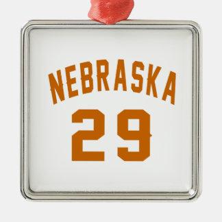 Nebraska 29 Birthday Designs Silver-Colored Square Ornament