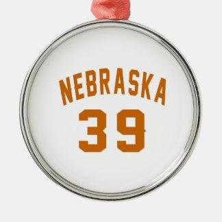Nebraska 39 Birthday Designs Silver-Colored Round Ornament