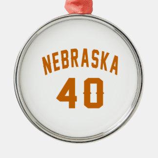 Nebraska 40 Birthday Designs Silver-Colored Round Ornament