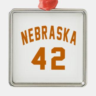 Nebraska 42 Birthday Designs Silver-Colored Square Ornament
