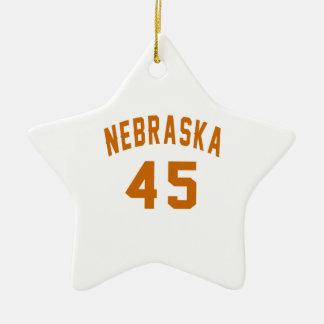Nebraska 45 Birthday Designs Ceramic Star Ornament