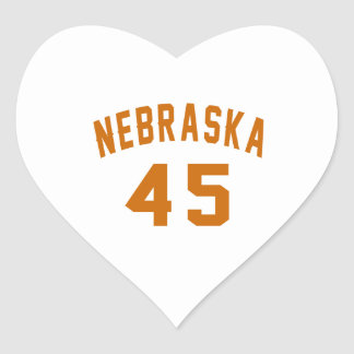 Nebraska 45 Birthday Designs Heart Sticker