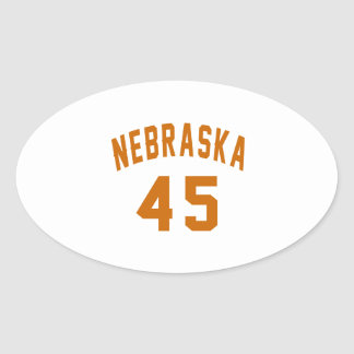 Nebraska 45 Birthday Designs Oval Sticker