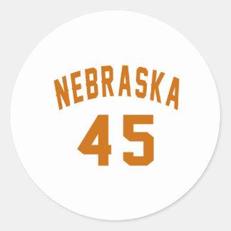 Nebraska 45 Birthday Designs Round Sticker