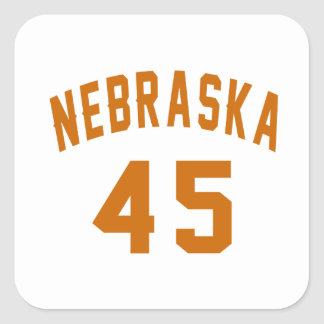 Nebraska 45 Birthday Designs Square Sticker