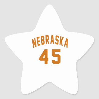 Nebraska 45 Birthday Designs Star Sticker