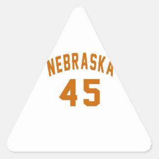 Nebraska 45 Birthday Designs Triangle Sticker