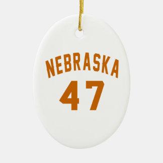 Nebraska 47 Birthday Designs Ceramic Oval Ornament