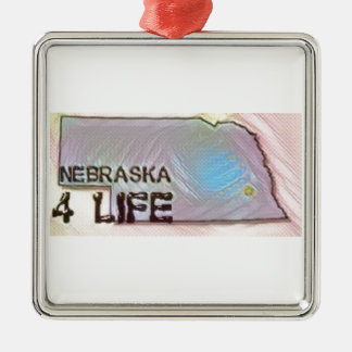 """Nebraska 4 Life"" State Map Pride Design Metal Ornament"