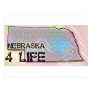 """Nebraska 4 Life"" State Map Pride Design Postcard"