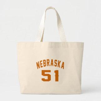 Nebraska 51 Birthday Designs Large Tote Bag