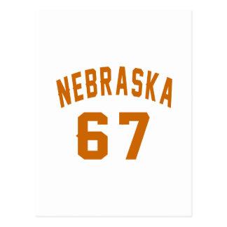 Nebraska 67 Birthday Designs Postcard