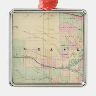 Nebraska 6 Silver-Colored square ornament