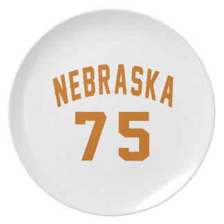 Nebraska 75 Birthday Designs Plate
