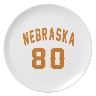 Nebraska 80 Birthday Designs Plate
