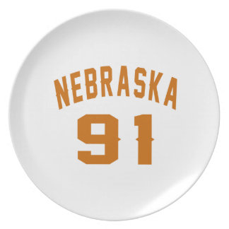 Nebraska 91 Birthday Designs Plate