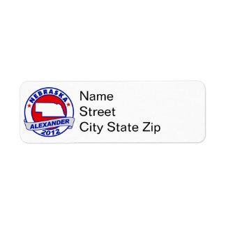 Nebraska Alexander Return Address Label