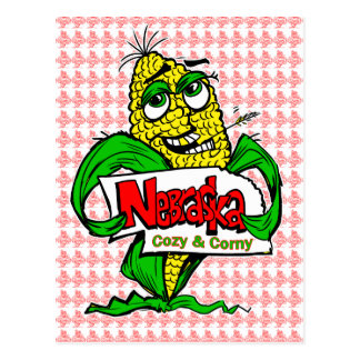 Nebraska Cartoon Corn Cob Postcard