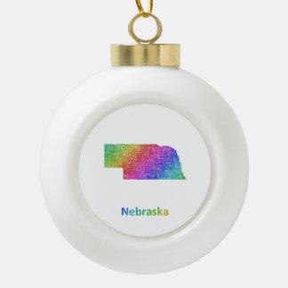 Nebraska Ceramic Ball Ornament