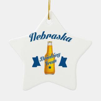 Nebraska Drinking team Ceramic Star Ornament