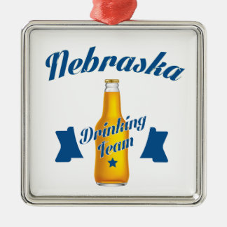 Nebraska Drinking team Silver-Colored Square Ornament