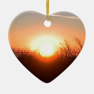 Nebraska Fall Sunrise Over Fields and Brush Bright Ceramic Heart Ornament