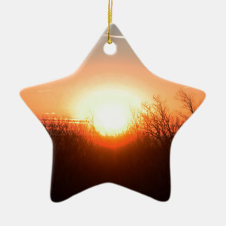 Nebraska Fall Sunrise Over Fields and Brush Bright Ceramic Star Ornament