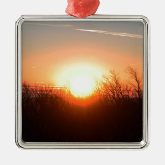 Nebraska Fall Sunrise Over Fields and Brush Bright Silver-Colored Square Ornament