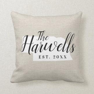 Nebraska Family Monogram State Throw Pillow