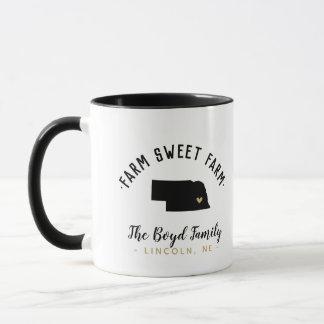 Nebraska Farm Sweet Farm Family Monogram Mug