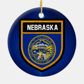 Nebraska Flag Ceramic Ornament