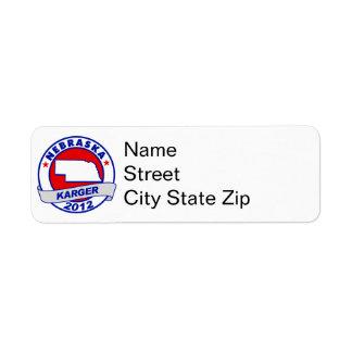 Nebraska Fred Karger Return Address Label