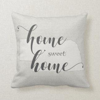 Nebraska - Home Sweet Home burlap-look Throw Pillow