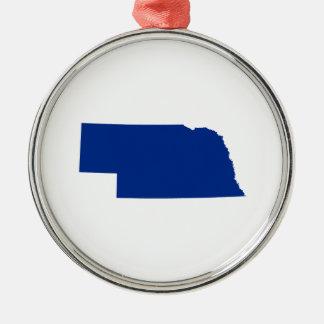 Nebraska in Blue Silver-Colored Round Ornament