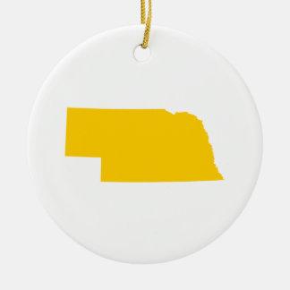 Nebraska in Gold Round Ceramic Ornament