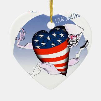 nebraska loud and proud, tony fernandes ceramic heart ornament