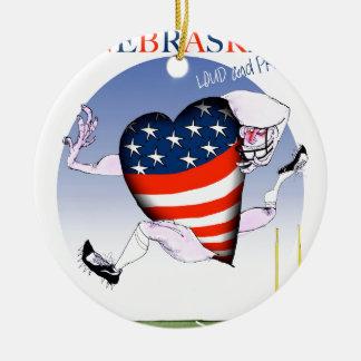 nebraska loud and proud, tony fernandes round ceramic ornament