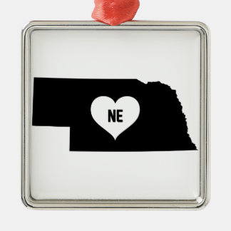 Nebraska Love Metal Ornament