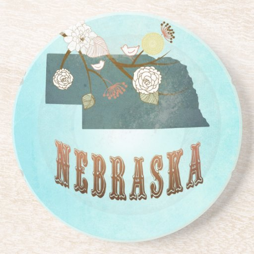 Nebraska Map With Lovely Birds Beverage Coaster