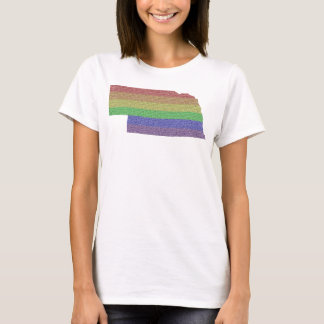 Nebraska Rainbow Pride Flag Mosaic T-Shirt