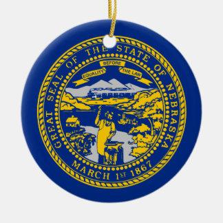 Nebraska Round Ceramic Ornament