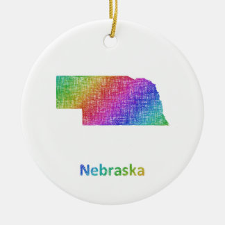 Nebraska Round Ceramic Ornament