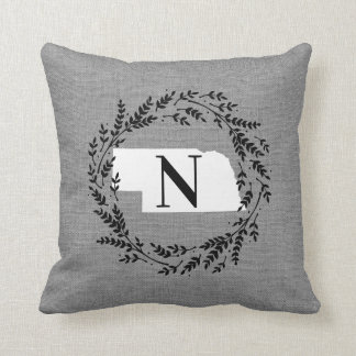 Nebraska Rustic Wreath Monogram Throw Pillow