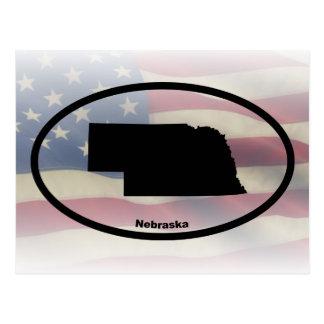 Nebraska Silhouette Oval Design Postcard
