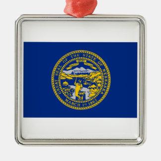 Nebraska Silver-Colored Square Ornament