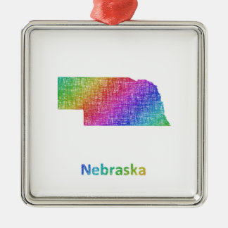Nebraska Silver-Colored Square Ornament
