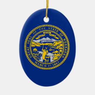 Nebraska State Flag Ceramic Oval Ornament